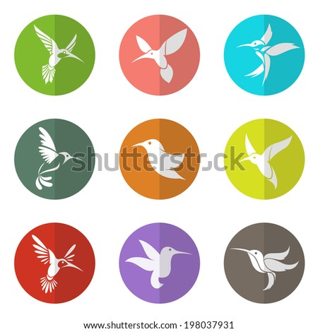 Vector group of hummingbird in the circle on white background - stock vector