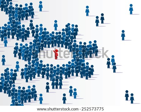 Vector. Group of identical symbolic figures that makes a system is ruled by red one. - stock vector