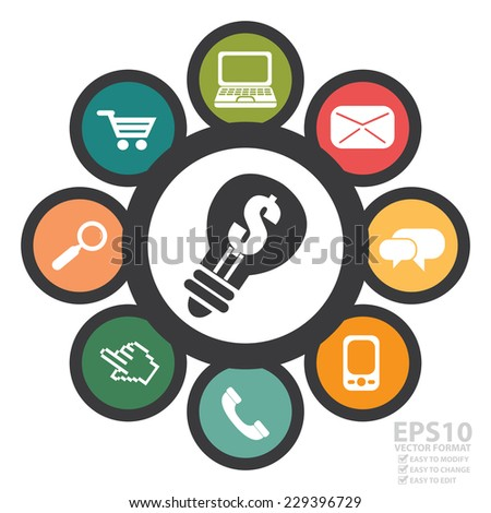 Vector : Group of Online Business, E-Commerce or Online Shopping Icon Isolated on White Background  - stock vector