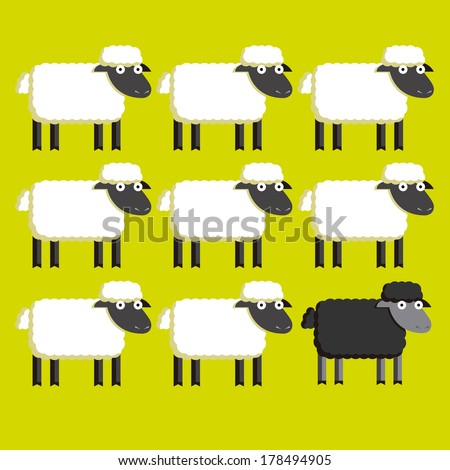 Vector Group Of  White Sheep And A Black Sheep - stock vector