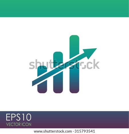 Vector growing graph icon. - stock vector