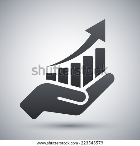 Vector growing graph icon on the hand - stock vector