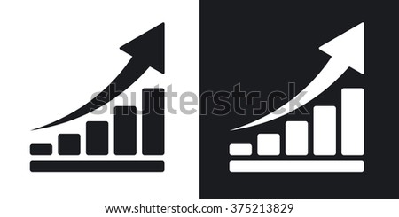 Vector growing graph icon. Two-tone version on black and white background