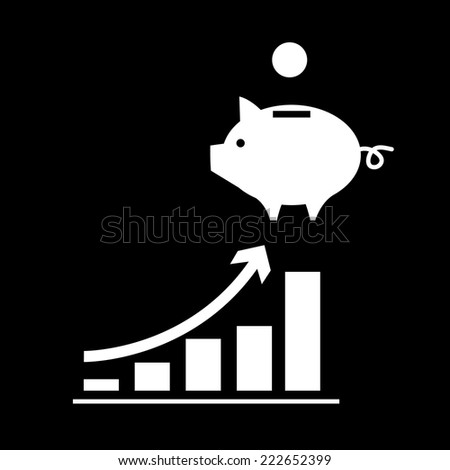 vector growing graph with piggy money bank icon | modern white flat design pictogram isolated on black background - stock vector