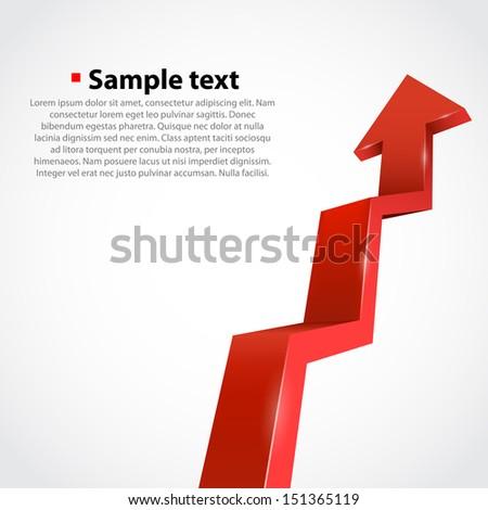 Vector growth progress arrow. Red - stock vector