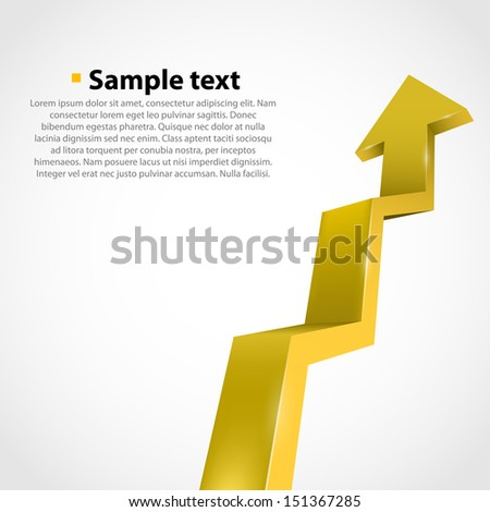 Vector growth progress arrow. Yellow - stock vector