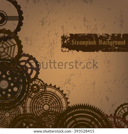 "Vector grunge background in steam punk style with rusty gears. Vintage steam punk cogwheels on grungy backdrop with text ""Steampunk background"". Fully editable Eps 10 file for your projects. - stock vector"