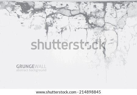 vector grunge background of old cracked wall - stock vector