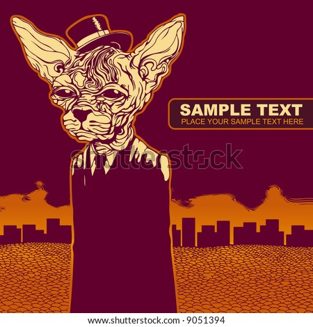 vector grunge background with a cat in a hat , CD cover - stock vector