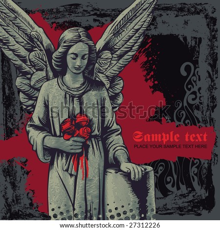 vector grunge background with a grieving angel. for CD cover - stock vector