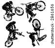 vector grunge bikers - stock vector