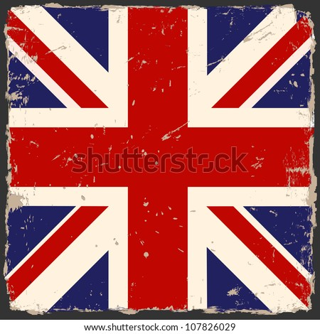 Vector grunge British flag - stock vector