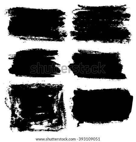 Vector grunge brush strokes backgrounds set, rectangle and square, for text. Distress texture, isolated, black on white. Used as banners, labels, badges, frames templates - stock vector