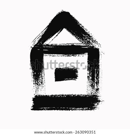 Vector Grunge Brush Strokes House Icon. Contour design, textured painting, black on white background - stock vector