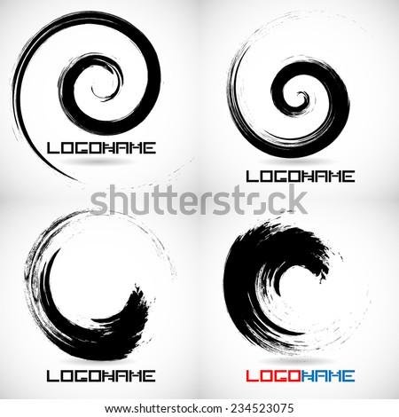 Vector Grunge Brushes Line .Vector Logo Design Template . Grunge Shapes .  - stock vector