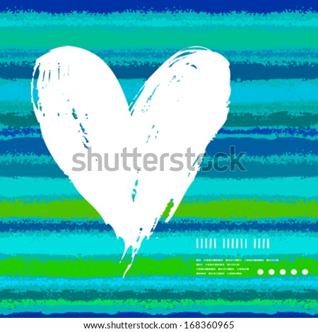 Vector grunge card with hand painted heart shape on striped background. Template for St. Valentines day card, romantic wedding invitation, promotion coupon of gift for two - stock vector