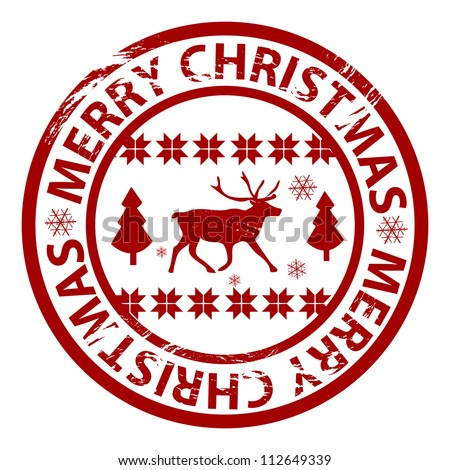 Vector grunge Christmas stamp with reindeer and Nordic pattern - stock vector