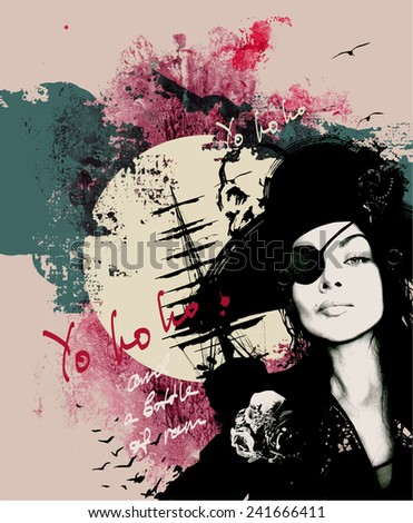 Vector grunge composition with a pirate girl, ship, seagulls for T-shirt - stock vector