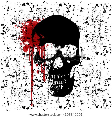 Vector Grunge Dark Skull Background - stock vector