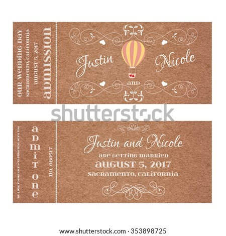 Vector Grunge Double Sided Ticket for Wedding Invitation and Save the Date with Montgolfier and elegant floral curl. Element for wedding designs, web, logo, and other holiday romantic projects. - stock vector