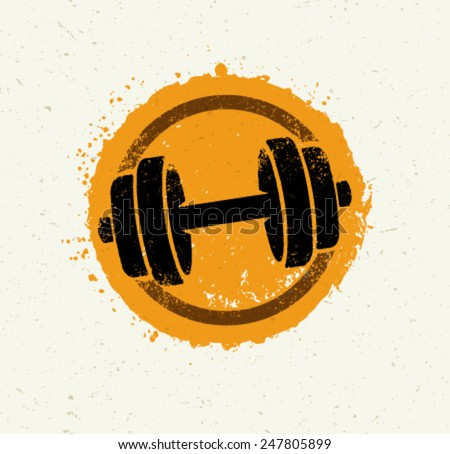 Vector Grunge Dumbbell Icon on Recycled Paper Background - stock vector
