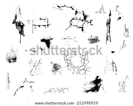 Vector Grunge Elements Set . Scratches, Cracks,  Splats , Brush Strokes , Textures and Ink Blots for your Design .  - stock vector