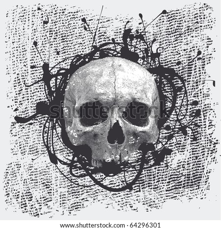 vector grunge halftone background with a skull