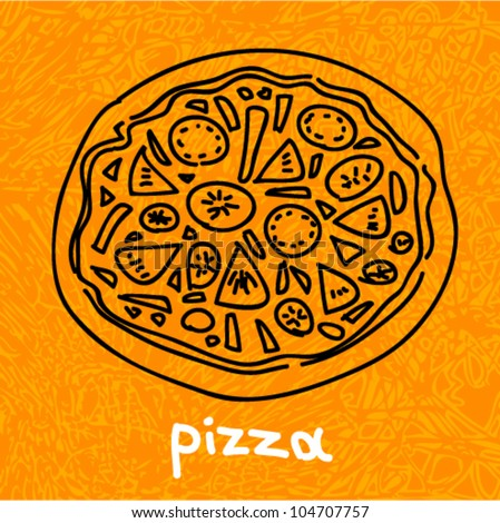 Vector grunge hand-drawn art - pizza