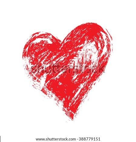 vector grunge heart, Valentine day, illustration vintage design element - stock vector