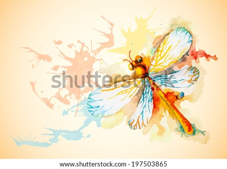 Vector grunge horizontal background with beautiful watercolor flying orange dragonfly