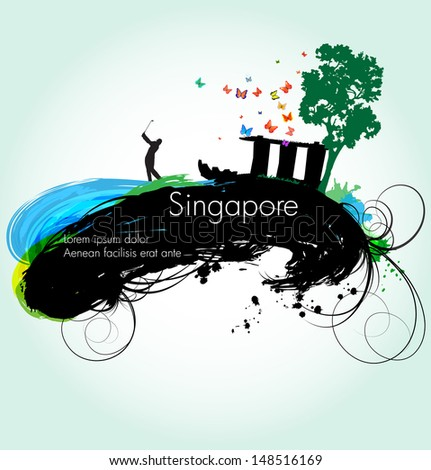 Vector grunge illustration of Singapore - stock vector