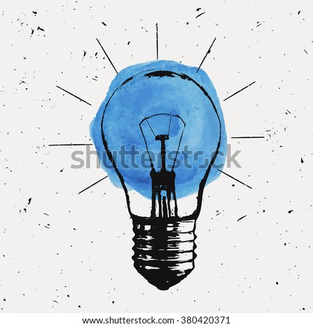 Vector grunge illustration with light bulb. Modern hipster sketch style. Idea and creative thinking concept. - stock vector