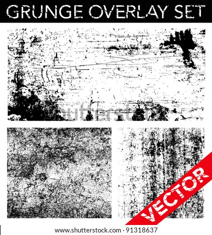 Vector Grunge Overlay Set. Simply place texture over any object to create distressed effect. - stock vector