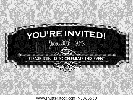 Vector Grunge Pattern and Ornate Frame. Easy to edit. Perfect for invitations or announcements. - stock vector