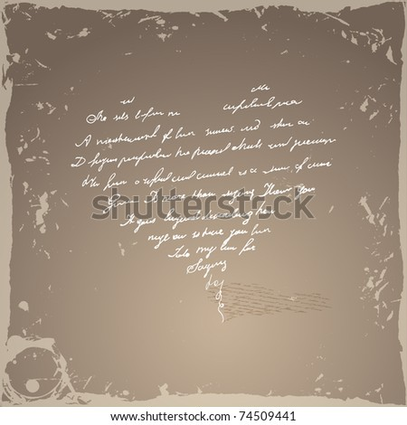 Vector grunge picture with heart - stock vector