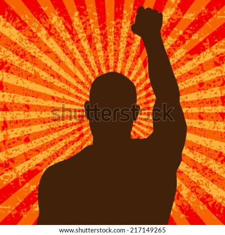 Vector grunge riot man protesting while rise up his fist, background illustration - stock vector