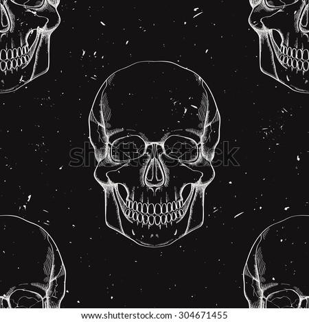 Vector grunge seamless pattern with human skulls