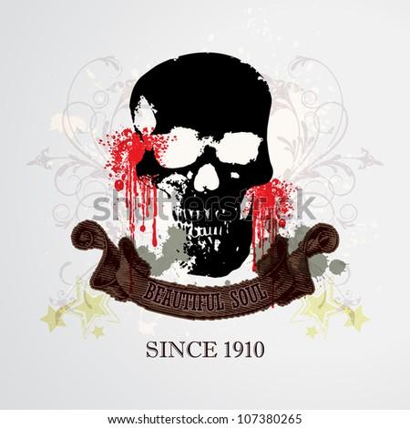 Vector Grunge Skull Background / Beautiful Soul - stock vector