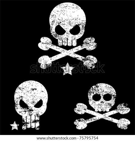vector grunge skull illustration - stock vector