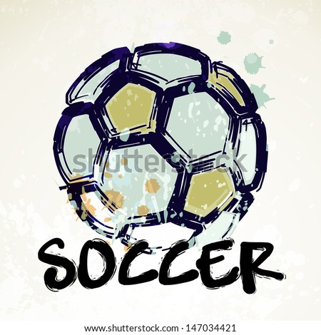 Vector Grunge Soccer Ball  - stock vector