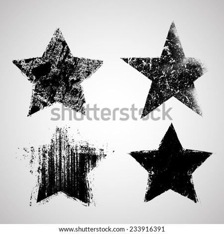 Vector Grunge Stars Collection . Distressed Star Shapes . Set of Grunge Splash Stars . Retro Stars Background . - stock vector
