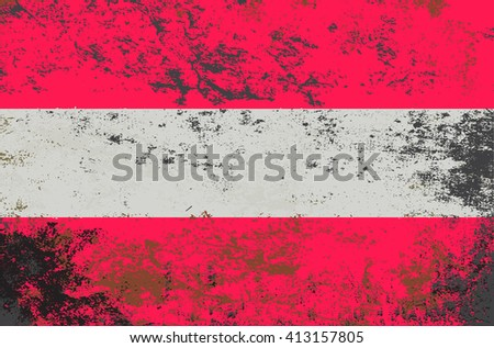 Vector grunge style Austria state flag. Shabby design of national austrian flag. Symbol of Austria in stains. Black mourning day for the country. Flat design vector illustration editable template - stock vector