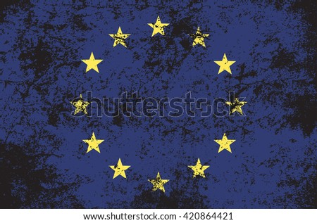 Vector grunge style European Union flag. Shabby design of EU flag. Symbol of Europe with stars in circle in mud. Summit, black day,mourning, memorial. vector illustration template. Add any text - stock vector