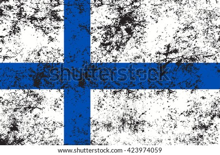 Vector grunge style Republic of Finland state flag. Shabby design of finnish national flag. Symbol with two blue crossed stripes, scandinavian cross Independence day, holiday, web button. Add text - stock vector