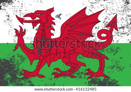 Vector grunge style Wales state flag. Shabby design of wales flag. Symbol of Cymru in stains. Black mourning day for the country. Flat design vector illustration template. Add text - stock vector