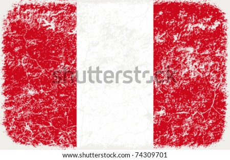 vector grunge styled flag of peru - stock vector