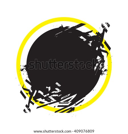 Vector grunge stylized geometrical shape with splashes and splatters. Circle symbol exploded and damaged design element.