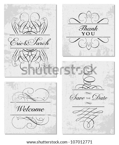 Vector Grunge Swirl Frame Set. Easy to edit. Perfect for invitations or announcements. - stock vector