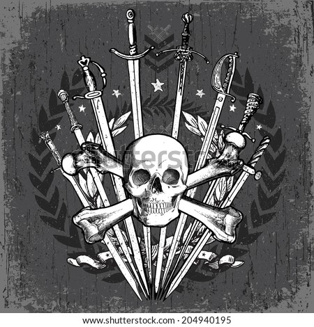 Vector grunge sword and skull crest. Easy to edit, all pieces are separated. - stock vector