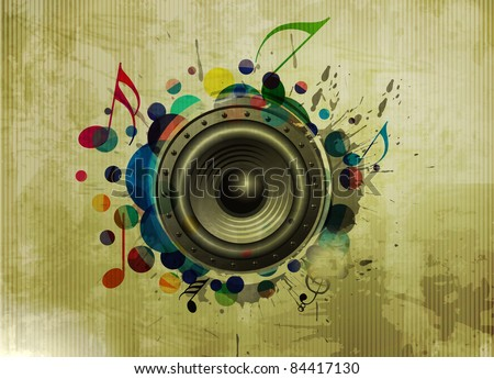 Vector grunge texture background, music speakers design - stock vector